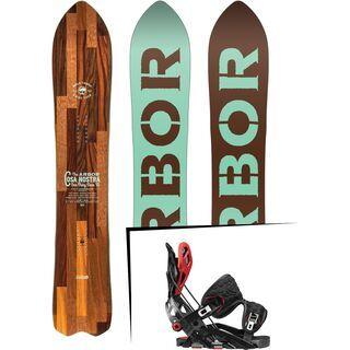 Set: Arbor Cosa Nostra 2017 + Flow Fuse-GT 2017, black/red - Snowboardset
