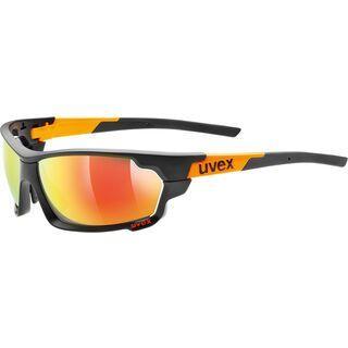 uvex Sportstyle 702 inkl. Wechselgläser, black mat orange/Lens: mirror orange - Sportbrille