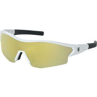 Scott Leap + Spare Lens, white glossy/black gold chrome - Sportbrille