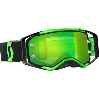 Scott Goggle Prospect, black/fluo green/Lens: green chrome - MX Brille