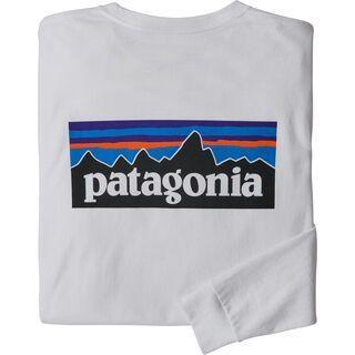 Patagonia Men's Long-Sleeved P-6 Logo Responsibili-Tee, white