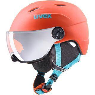 uvex junior visor pro, orange-petrol met mat - Skihelm