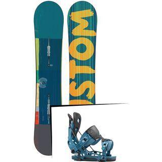 Set: Burton Custom Flying V Wide 2015 + Flow NX2 2016, blue - Snowboardset