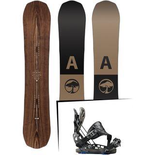 Set: Arbor Element Premium Mid Wide 2017 + Flow NX2-GT Hybrid 2017, black - Snowboardset
