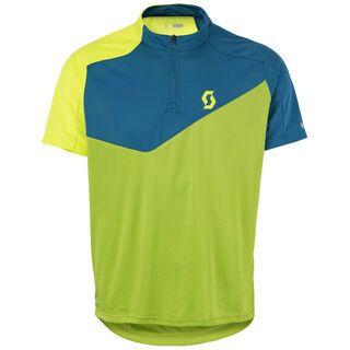 Scott Trail Flow Q-Zip s/sl Shirt, green/yellow - Radtrikot
