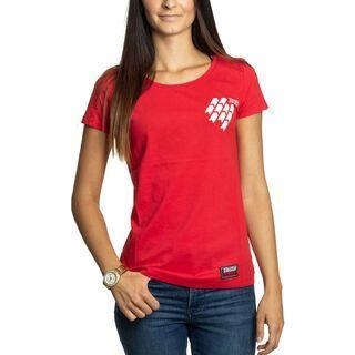 BIKER-BOARDER Strassenschlacht T-Shirt Reifenspuren Damen, rot