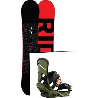 Set: Ride Machete 2017 + Burton Mission 2017, track day green - Snowboardset