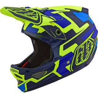 TroyLee Designs D3 Fiberlite Speedcode Helmet, yellow/blue - Fahrradhelm
