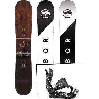 Set: Arbor Coda Camber Mid Wide 2017 + Flow NX2 Hybrid 2017, black - Snowboardset