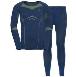 Odlo Men's Performance Evolution Warm Baselayer Set, estate blue/limeade
