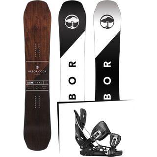 Set: Arbor Coda Camber Mid Wide 2017 + Flow NX2 2017, black - Snowboardset