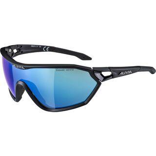 Alpina S-Way, black matt/Lens: ceramic blue mirror - Sportbrille