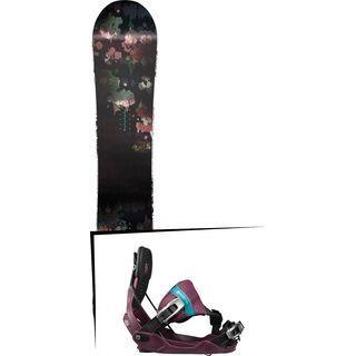 Set: Nitro Fate Flatout 2017 + Flow Minx Hybrid 2017, berry - Snowboardset