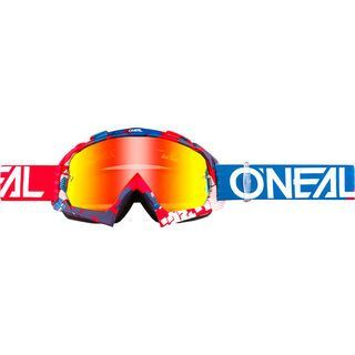 ONeal B-10 Goggle Pixel, red/blue/Lens: radium red - MX Brille