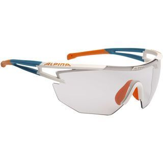 Alpina Alpina Eye-5 Shield VL+, weiß matt-cyan-orange/Varioflex black - Sportbrille