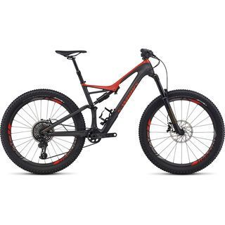 Specialized S-Works Stumpjumper FSR Carbon 6Fattie 2017, silver tint carbon/red - Mountainbike