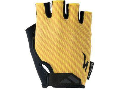 Specialized Women's Body Geometry Sport Gel Gloves brassy yellow stripe