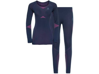Odlo Women's Performance Evolution Light Baselayer Set, navy/purple