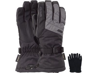 POW Gloves Warner Gore-Tex Long Glove + Merino Liner, charcoal - Snowboardhandschuhe