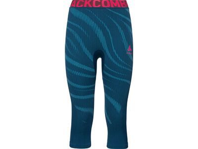 Odlo SUW Bottom Pant 3/4 Performance Blackcomp, poseidon-pink - Unterhose