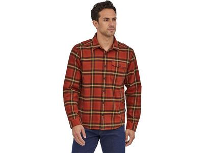 Patagonia Men's Long-Sleeved Lightweight Fjord Flannel Shirt lawrence: hot ember