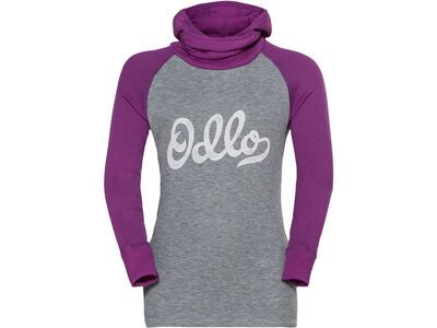 Odlo Active Warm Eco Kids Baselayer Top mit Kapuze, violet/grey