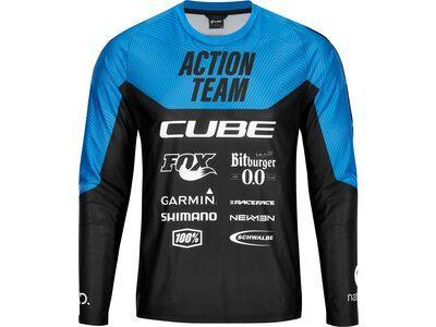 Cube Edge Rundhalstrikot langarm X Actionteam, black´n´blue - Radtrikot