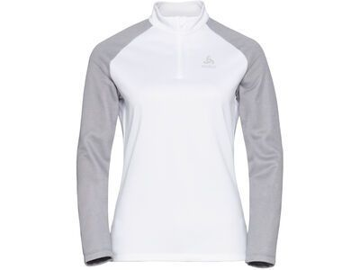 Odlo Women's Planches 1/2 Zip Midlayer, grey melange/white - Fleecepullover