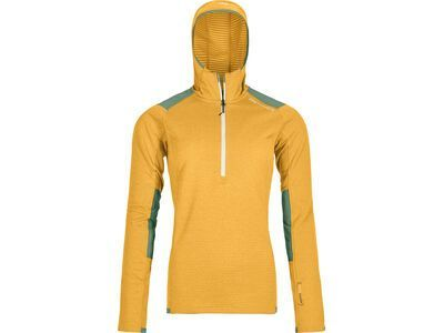 Ortovox Merino Fleece Light Grid Zip Neck Hoody W, yellowstone - Fleecehoody