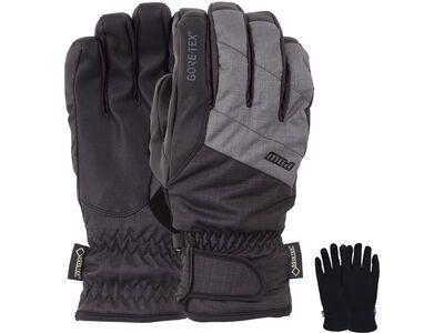 POW Gloves Warner Gore-Tex Short Glove + Merino Liner, charcoal - Snowboardhandschuhe