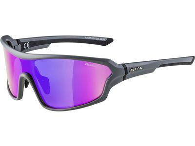 Alpina Lyron Shield P, grey matt-black/Lens: ceramic mirror purple - Sportbrille
