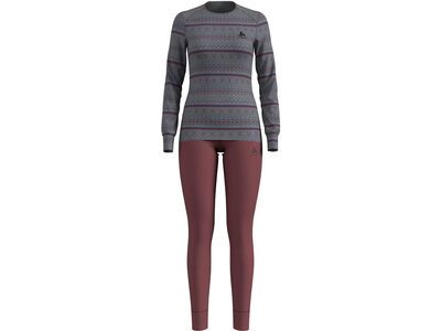 Odlo Set Active Warm X-Mas, grey melange/roan rouge - Unterwäsche-Set