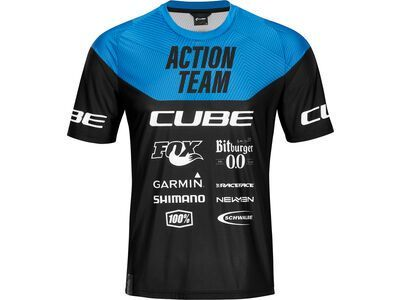 Cube Edge Rundhalstrikot kurzarm X Actionteam, black´n´blue - Radtrikot