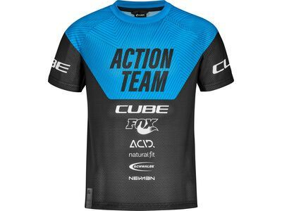 Cube Junior Trikot kurzarm X Actionteam, black´n´blue - Radtrikot