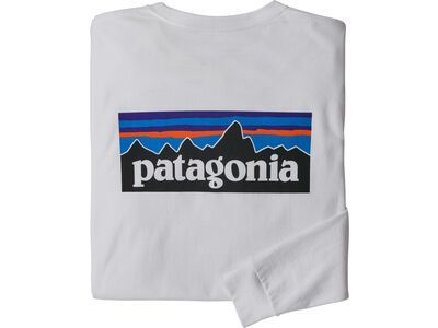 Patagonia Men's Long-Sleeved P-6 Logo Responsibili-Tee, white