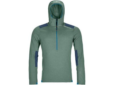 Ortovox Merino Fleece Light Grid Zip Neck Hoody M, green forest - Fleecehoody