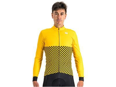 Sportful Checkmate Thermal Jersey, yellow black