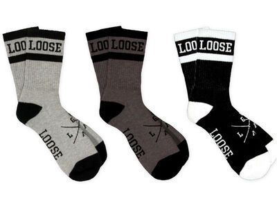 Loose Riders Cotton Socks 3-Pack Classic black/white/grey