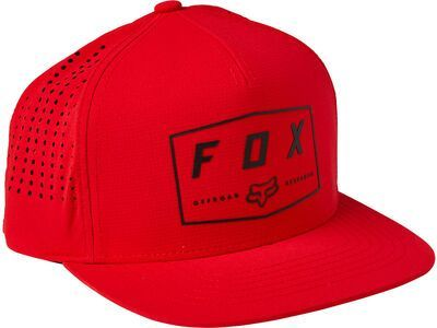 Fox Badge Snapback Hat flame red