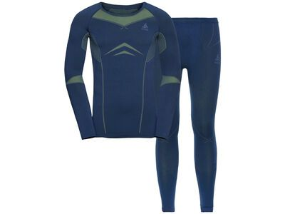 Odlo Men's Performance Evolution Warm Baselayer Set, estate blue/limeade