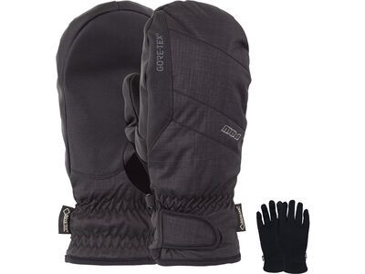 POW Gloves Warner Gore-Tex Short Mitt + Merino Liner, black - Snowboardhandschuhe