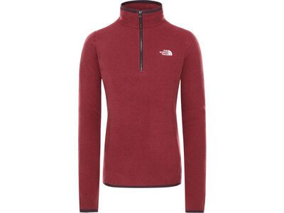 The North Face Women's 100 Glacier 1/4 Zip, root brown/pomegranate stripe - Fleecepullover